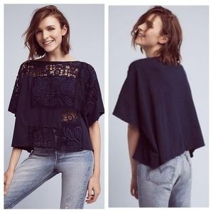 Anthropologie Darrie navy embroidered crochet top
